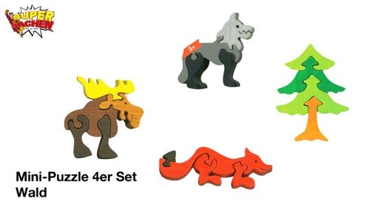 Mini Puzzle 4er set forest / Waldorf / Montessori / en bois jouets / faune / forêt / puzzle / moteur / animaux en bois / bois / infantile