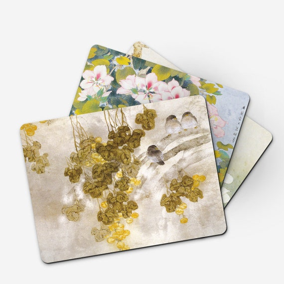 Desk Mat Customized Mats Personalized Gift Wooden Printable Placemats Floral Mats B015 Coaster Set Decorative Painting Ding Mat