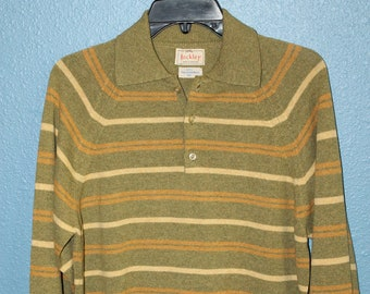 Vintage Men's Hockley Pullover Wool Sweater Made in England Lambswool Green Polo