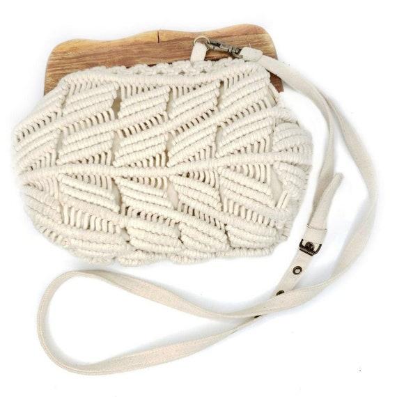 Vintage 1970s Macrame Cream White Shoulder Bag Fes