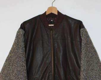 Leather Jacket Handmade Wool Sleeves Made in Italy