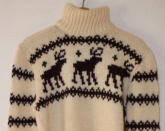 Turtleneck Sweater Vintage Reindeer Print 100% Wool