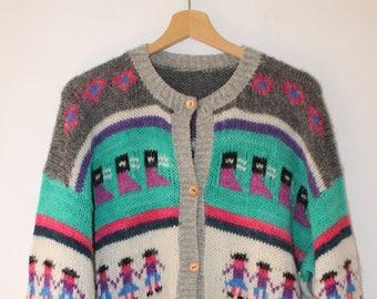 Vintage Sweater Cardigan Unisex 100% Wool