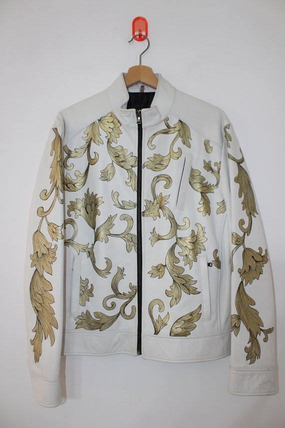 Jacket Italy Hand 50 Leather Size Piece Baroque Versace Made Style Paint Unique In ZPXkui