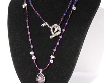 Amethyst Pendulum Bead Necklace