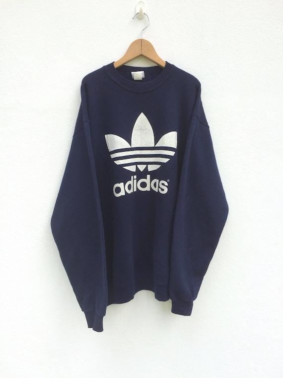Vintage Adidas Sweatshirt LARGE MENS Spell Out Big Logo Adidas T Shirt Adidas Sweatshirt Run Dmc Colour Block Adidas Hoodie