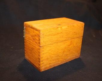 Wood Index File Box