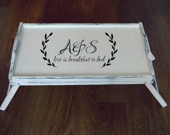 Personalized Serving Tray-Wreath-Initial Tray-Custom Tray-Breakfast Tray with Legs-Bed Tray with Legs-Breakfast in Bed Tray-White Tray