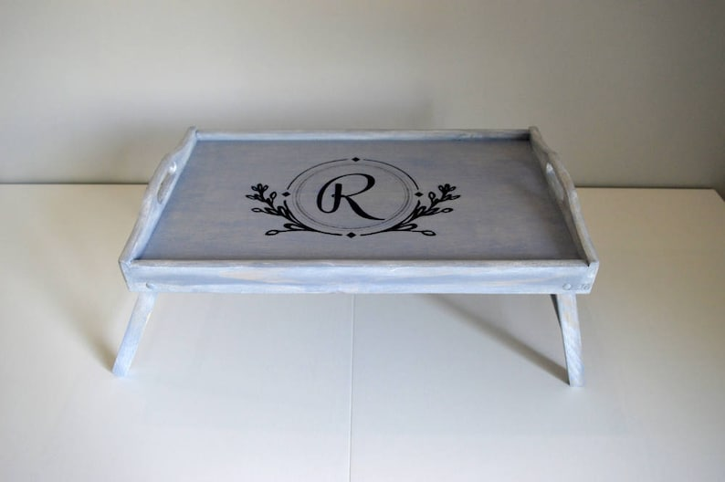 Blue Serving Tray, Coffee Table Tray,Large Wooden Tray,Vintage Wooden  Tray,Custom Serving Tray,Folding Bed Tray,Initial Tray