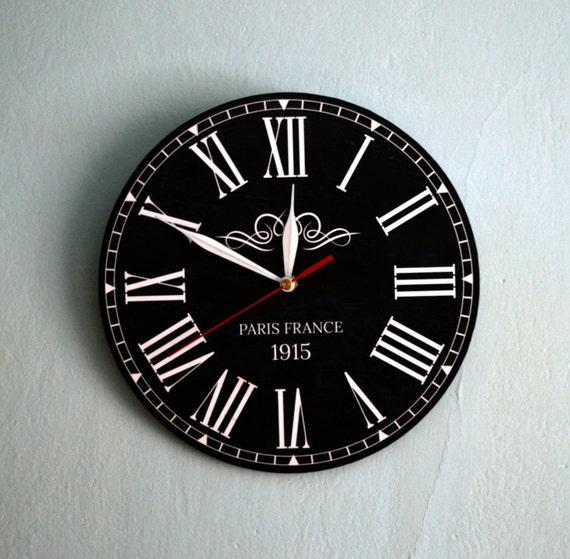 Roman Numeral Clock Black Wall Clock Vintage Clock Round