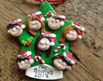 Gift ideas Xmas tree decoration Personalised Christmas decoration family Handmade Xmas tree star made to order keepsake festivities