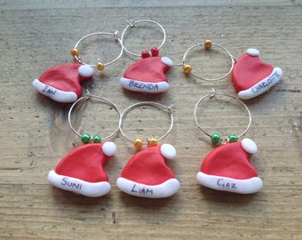 6 personalised Santa hats wine glass charms Dinner Xmas party Handmade