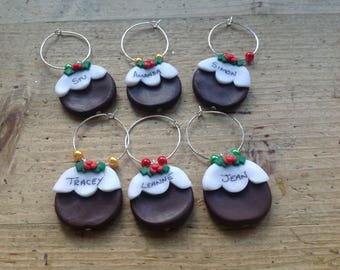 6 personalised wine charms Christmas puddings handmade names dinner party