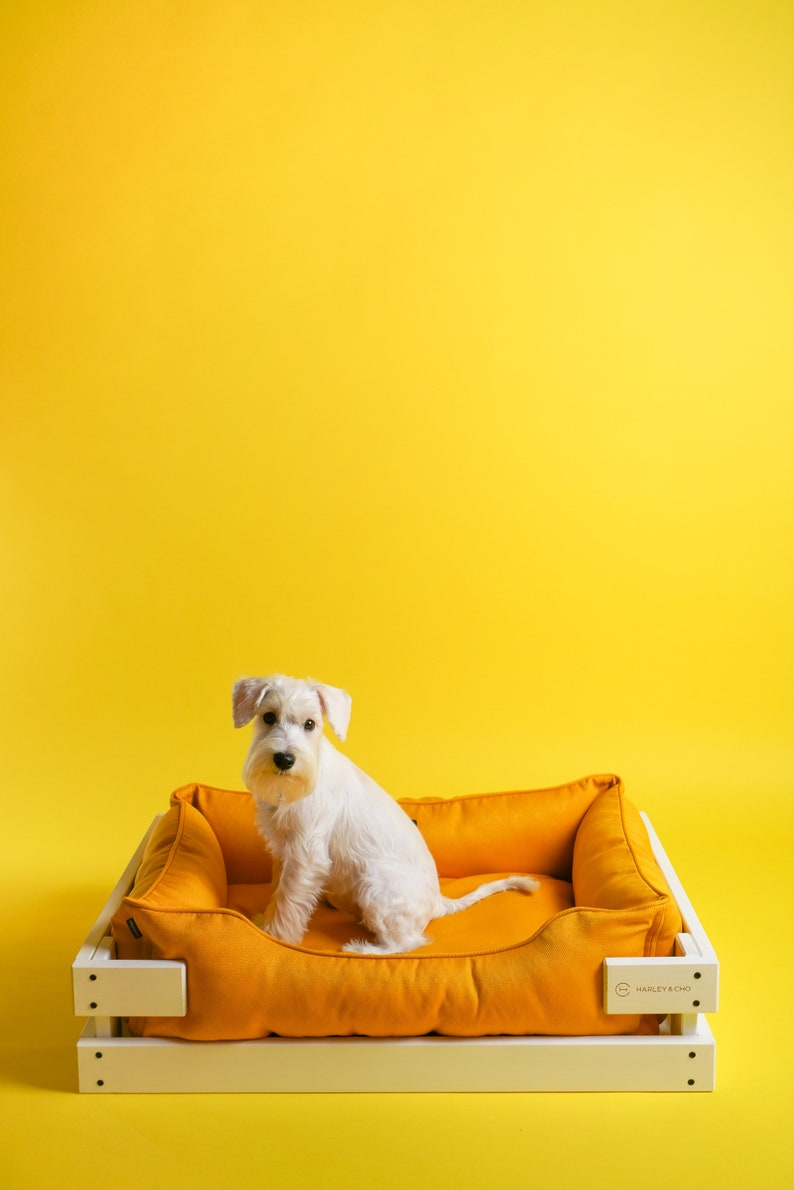 Dog Bed Wooden Frame White Yellow Mat For Small Dog Etsy