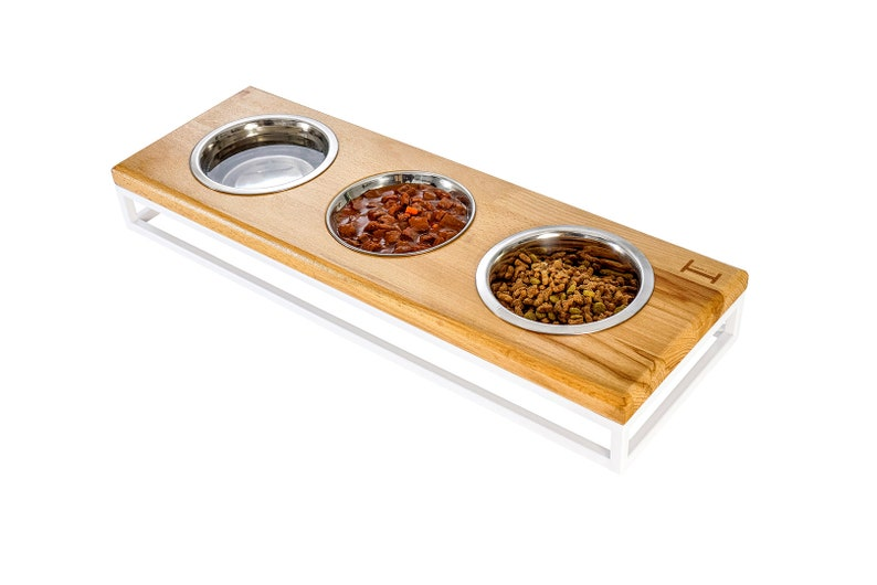 Pet Triple Bowl Feeder  Lunch Bar Wood raised stands for cats and dogs  Flat bowl for fry food  Feeder for cat family  Dog raised stand
