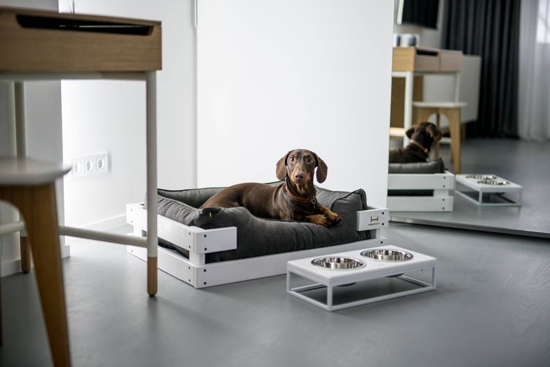 Grey orthopedic pet mattress dreamer with white wooden frame  pet bed for dachshund  Durable dog lounger couch