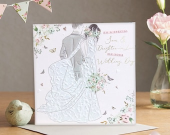 To Special Son and Daughter-in-Law on your Wedding Day - Handmade Luxury Wedding Card with Crystals