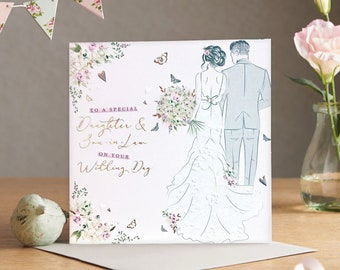 To Special Daughter and Son-in-Law on your Wedding Day - Handmade Luxury Wedding Card with Crystals