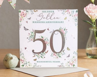 On Your Golden Wedding Anniversary (50 Years) - Handmade Luxury Anniversary Card with Crystals