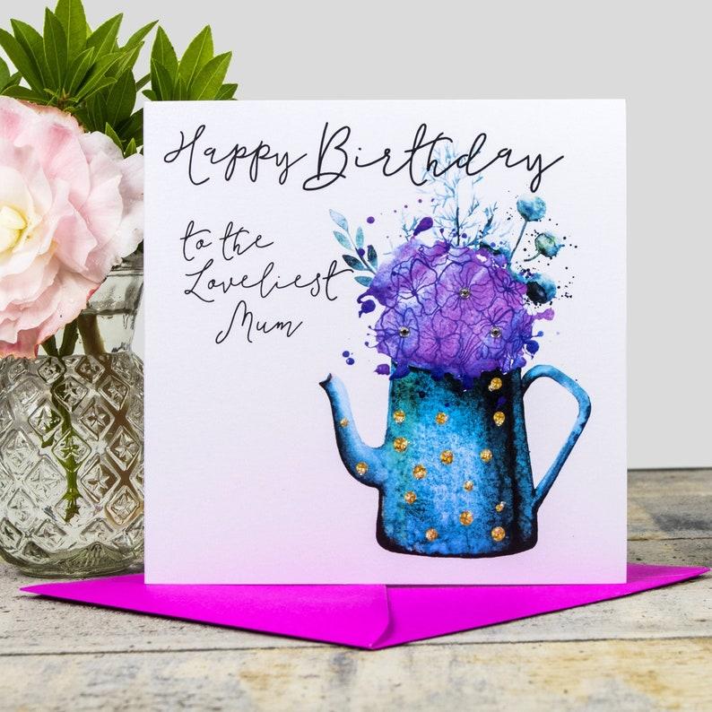 Joyeux Anniversaire à La Plus Belle Maman Pot De Fleurs Carte Danniversaire Aquarelle à La Main Avec La Main Appliquée Paillettes