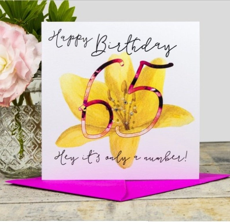 Happy 65th Birthday Handmade Watercolour Card With