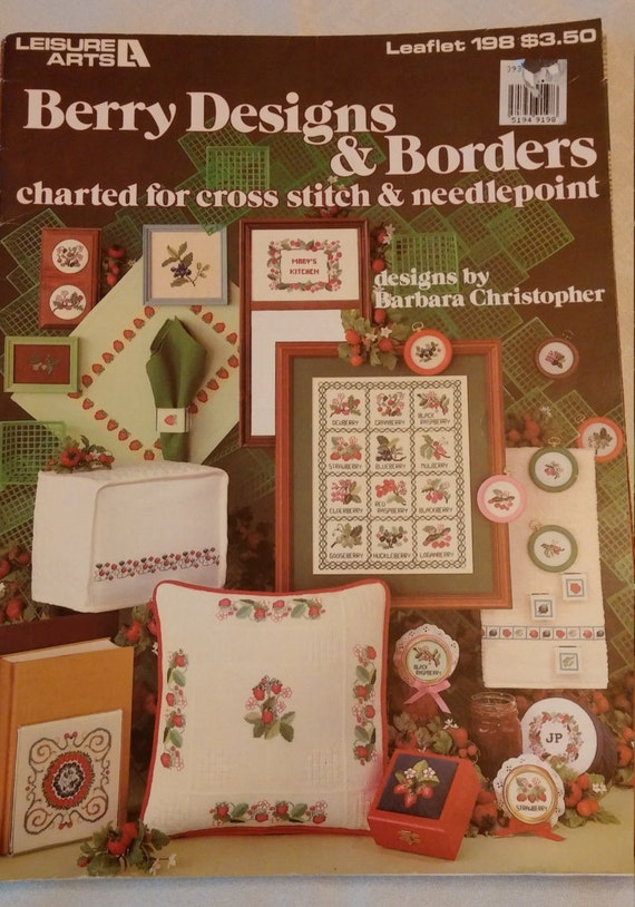 1981 Berry Designs /& Borders Cross Stitch Needlepoint Pattern Book Strawberry