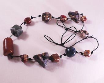 Multicolored necklace, handmade necklace, colorful jewelry, colorful beads, handmade beads, handmade jewelry, ceramic jewelry, ceramic beads