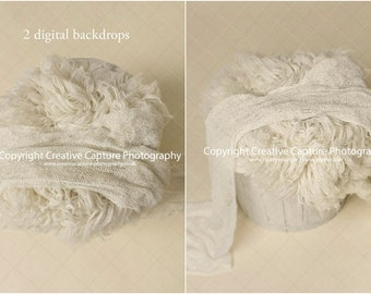 2 Newborn Digital backdrops / backgrounds / white barrel / cream wool / 2 for price of 1 / Instant download