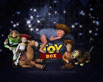1 Newborn Digital backdrop / background / Toy Story inspired /  cowboy / cowgirl / horse / toy box