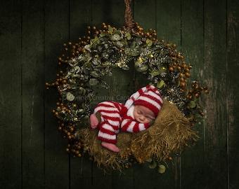 Newborn Christmas Digital background / digital backdrop / hanging garland / Christmas wreath / Instant download