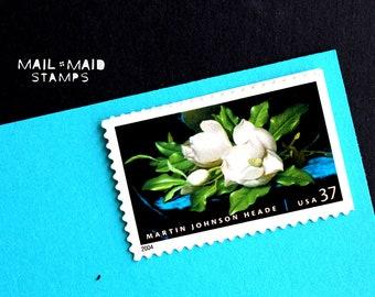 Martin Heade Magnolias    Set of 20 unused vintage postage stamps