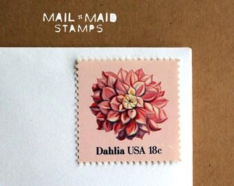 Dahlias || Set of 10 unused vintage postage stamps