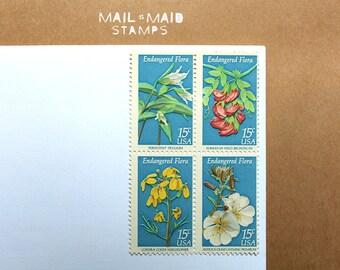 Endangered Flora || Set of 50 unused vintage postage stamps