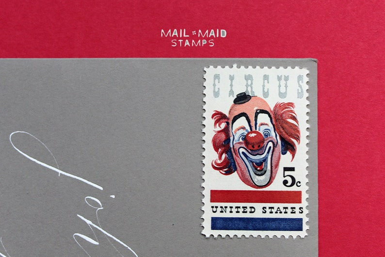 American Circus  Set of 10 unused vintage postage stamps image 0