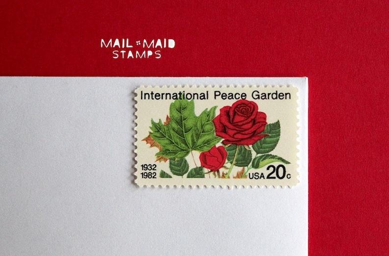 International Peace Garden  Set of 10 unused vintage postage image 0