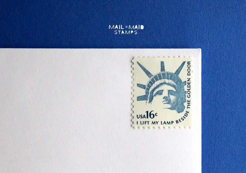 Statue of Liberty  Set of 10 unused vintage postage stamps image 0