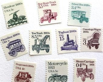 Assortment of 10 unused transportation stamps
