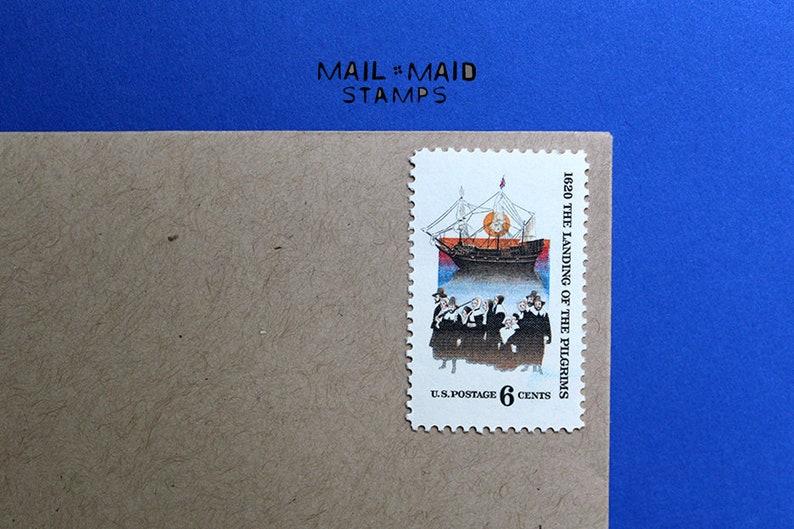 Pilgrims Landing  Set of 10 unused vintage postage stamps image 0