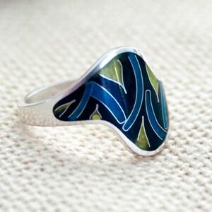 silver 925 Summer ring   Hot enamel Cloisonne enamel