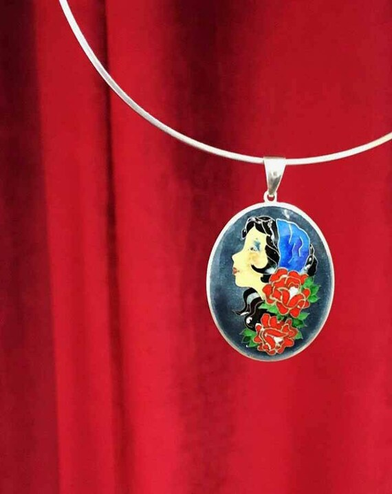 Silver Hot Enamel Jewelry Pendant Gipsy Girl Cloisonne Etsy
