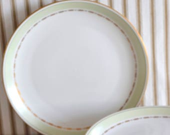 ON SALE Lyngby Green Rebild. Vintage 1950s Lunch Plates. Set of 3 Soft Green & Gold. Heirloom Quality. Made in Denmark. Regular Price 36 USD