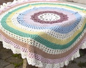 Vintage Round Soft Pastel Palette Table or Chair Throw. Hand Knit Crochet Soft Pure Cotton. Nordic Traditional Hand Made