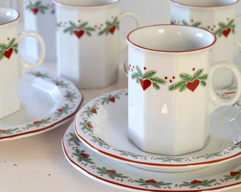 Vintage Rare Porsgrund Nordic Christmas Hearts u0026 Pine Coffee Cup Saucer and/or Cake Plate. Made in Norway Heirloom Quality. Select Unit(s) & Cake plates   Etsy