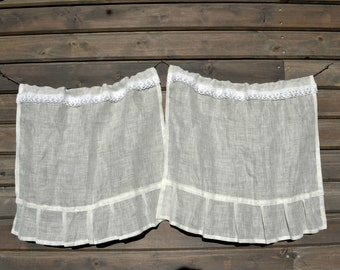 Linen Cafe Curtain With LaceWhite Panel French Country Ruffle Shabby Chic Curtains Valance