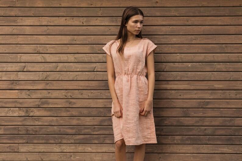 Licht Roze Jurk : Linnen jurk in licht roze perzik zomerjurk linnen kleding etsy