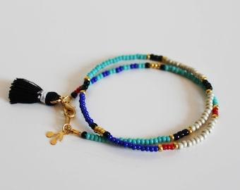 Double bracelet pearls bracelet tassel bracelet two rows, friendship bracelet, multicolor bracelet, bracelet seed beads
