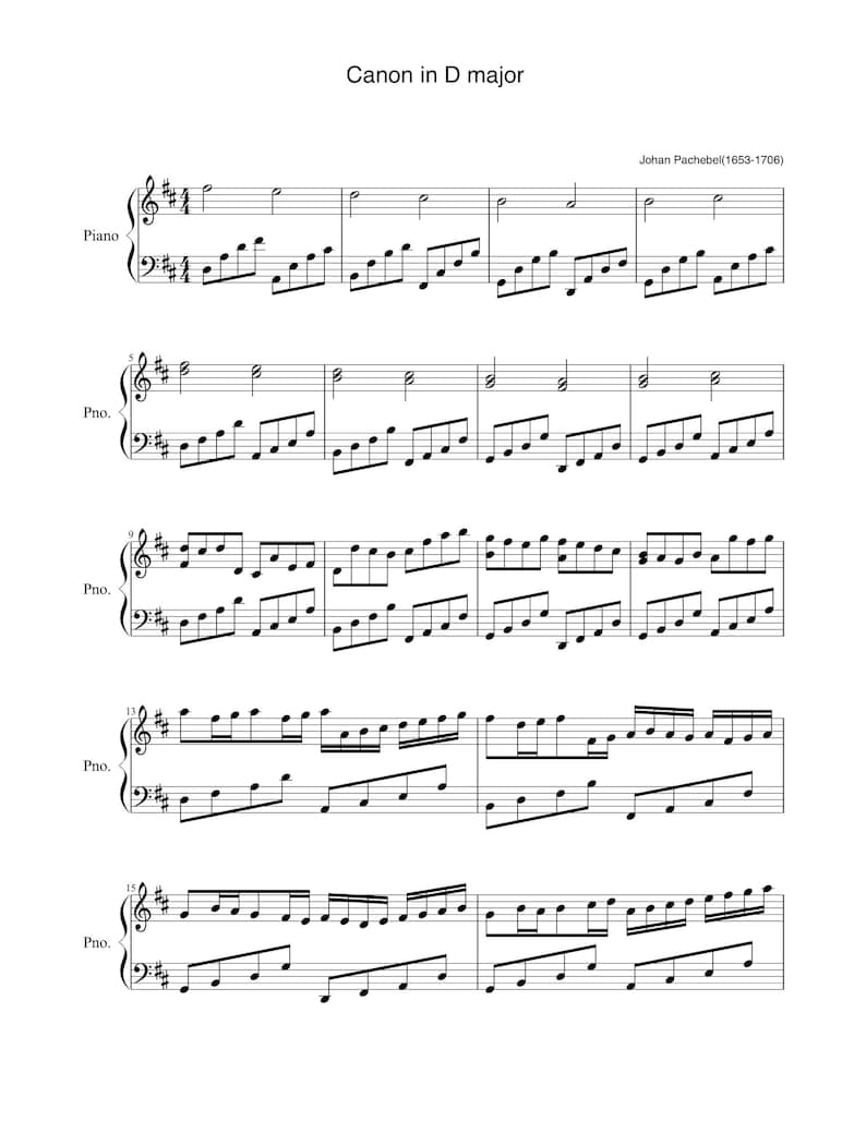 Piano Music Sheets  Canon in D   Easy Version  by Johann image 0