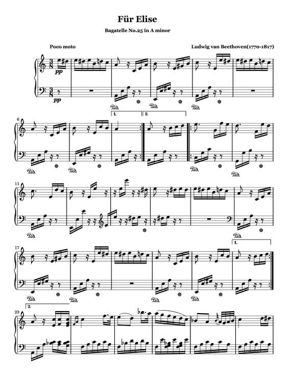 """Piano Music Sheets - Bagatelle No.25 in A minor """"Für Elise"""" WoO 59 by Beethoven"""