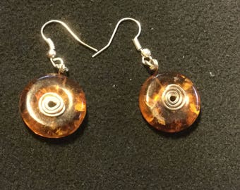 Sterling Silver Earrings with Amber Disks