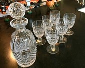 Waterford Crystal Colleen Pattern Wine Decanter Set Claret Wine 6 Glasses Short Stem Cut Crosshatch Limited Set of Six